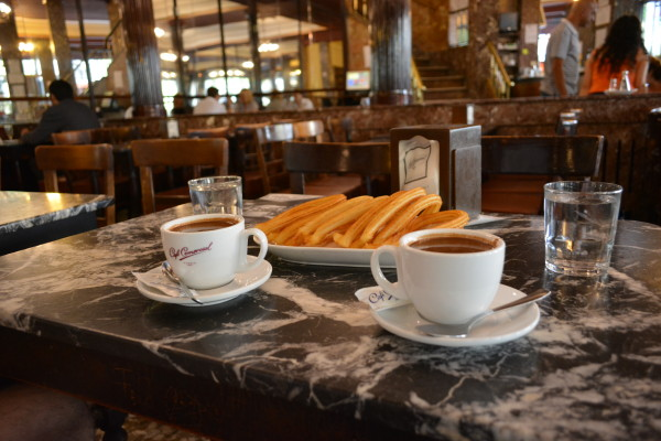 Churros con chocolate at Cafe Comercial, Madrid