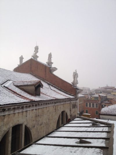 Venice snow rooftops