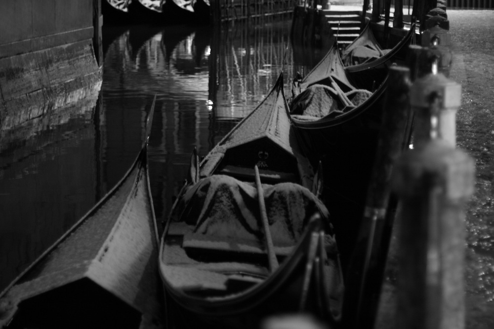 Venice gondolas with snow